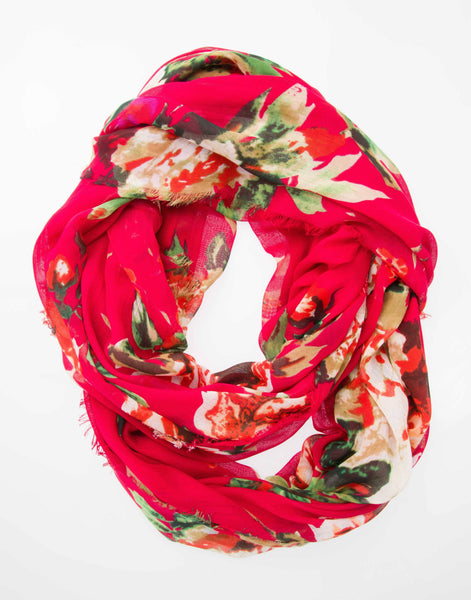 Modal Floral Print Infinity - Red