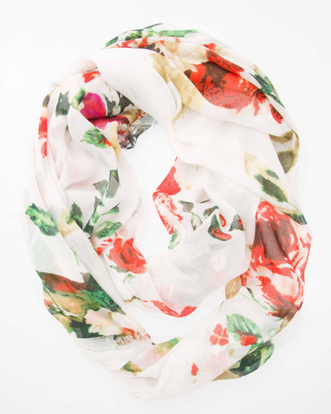 Modal Floral Print Infinity - White