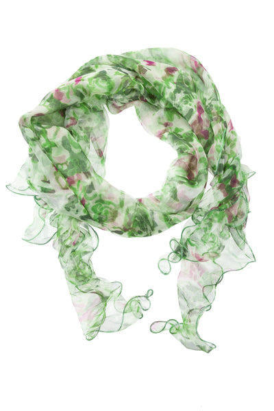 Silk Chiffon - Green/White/Pink