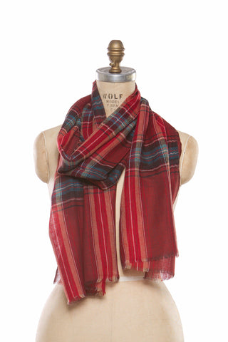 Silk Wool Plaid - Red