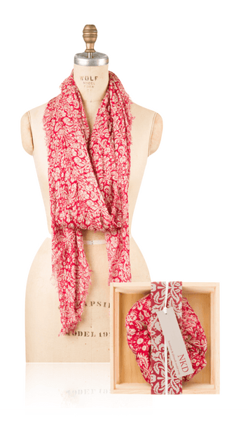 Modal Holiday Floral Print - Red