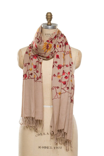 Embroidered Wrap - Beige
