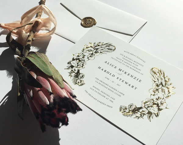 Aureate Wedding Invitation Printed in Gold Foil Press. Smitten With Love