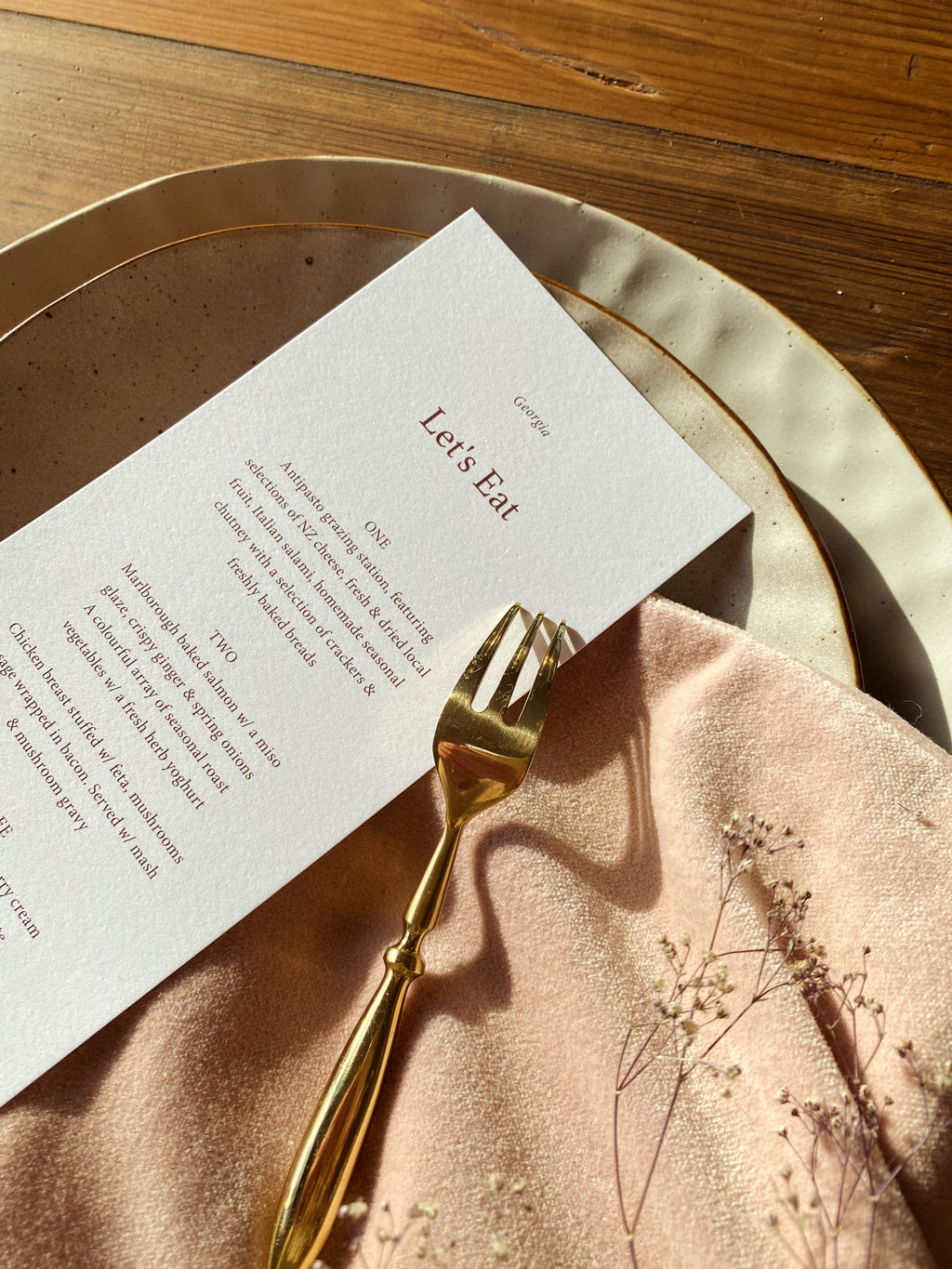 Rosalie Menu with Personalised Guest Name