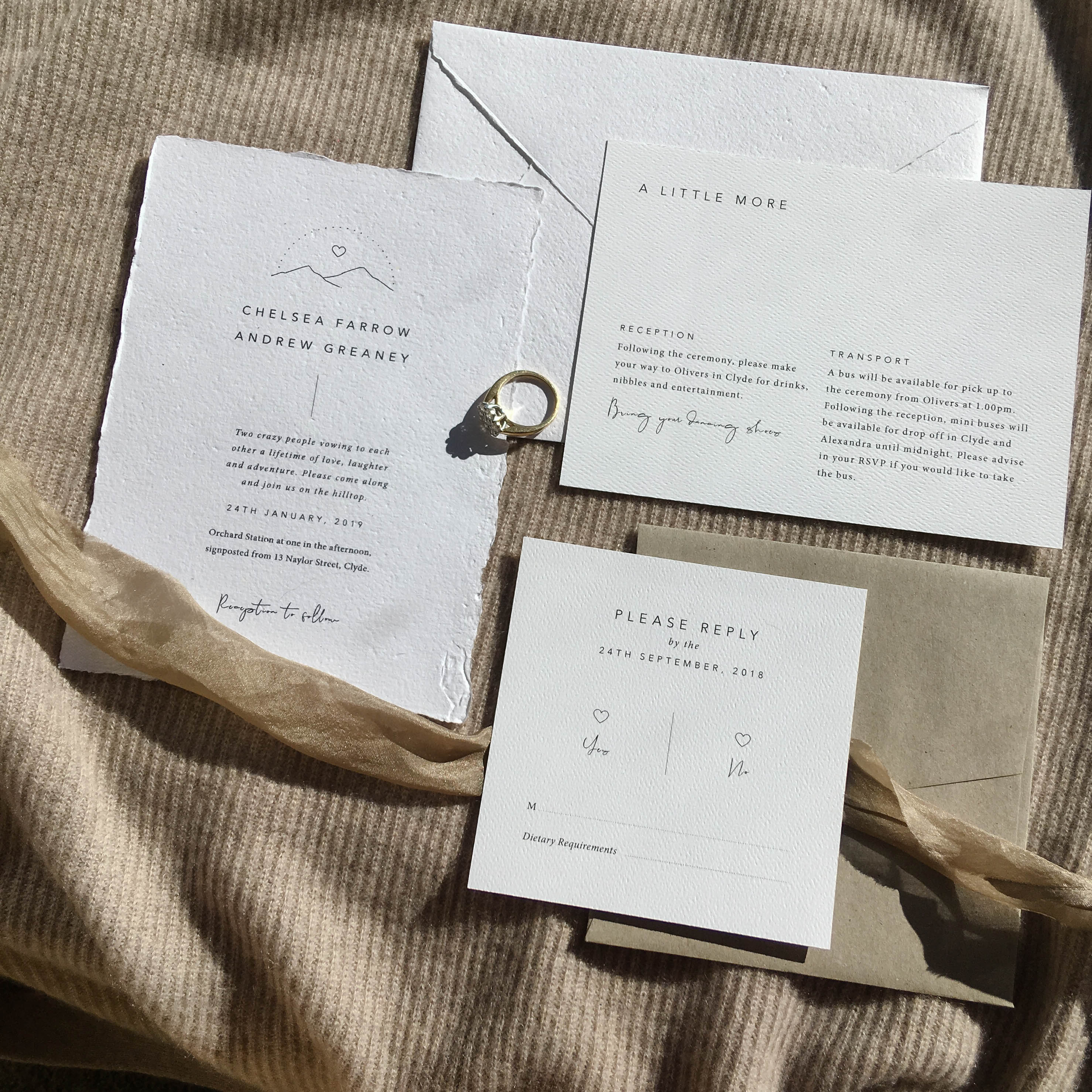 Smitten With Love Wedding Stationery Boutique, Wilderness Wedding Stationery Flatlay