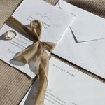 Smitten With Love Wedding Stationery, Invitation, details card on handmade paper