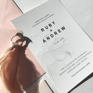 Ruby Wedding Invitation Embossed magnolia design Smitten With Love