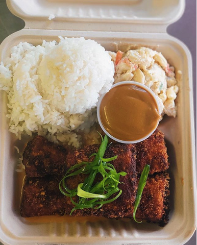 A meal at Trucking Delicious food truck on Kauai