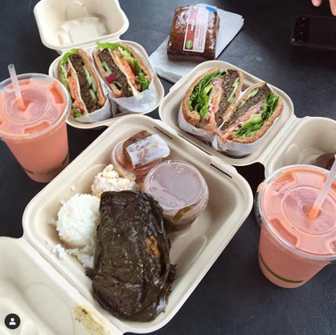 A meal at Hanalei Taro food truck on Kauai
