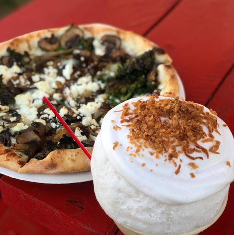 Pizza from Scorpacciata Kauai and dessert from Wailua Shave Ice