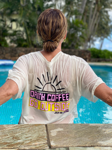 *NEW* Drink Coffee Go Outside // White // Cropped