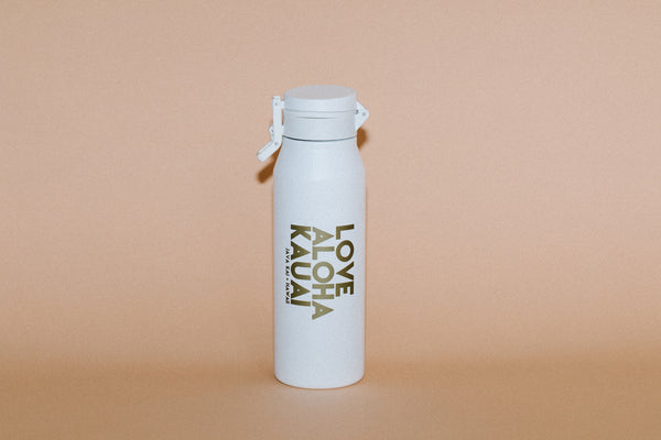 32OZ MIIR // Love Aloha Kauai // White+Gold