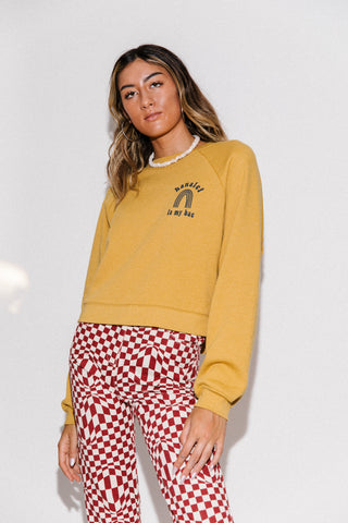 Hanalei Is My Bae // Mustard // Cropped Fleece