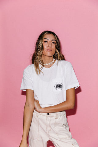 Kai Bar Lips Pocket Tee // White // Unisex