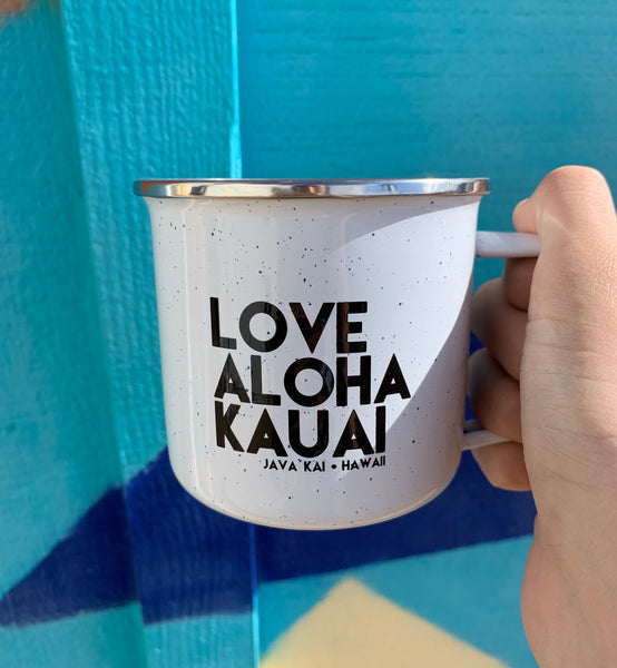 Love Aloha Kauai  // Steel Camp Mug // White