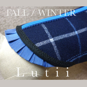 """NAVY GRID""-All 100% wool w/real shearling handmade winter dog coat - small dog harness, best pet harness, best non pull harness, designer dog harness, lace dog harness, lace pet carrier, best travel pet carrier, small dog carrier, small dog carrier by Lutii pet design, high end pet carriers, best small dog clothing, pet clothing."