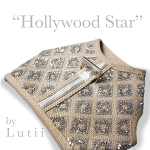 """Hollywood Star""-handmade adjustable glitter dog harness - small dog harness, best pet harness, best non pull harness, designer dog harness, lace dog harness, lace pet carrier, best travel pet carrier, small dog carrier, small dog carrier by Lutii pet design, high end pet carriers, best small dog clothing, pet clothing."