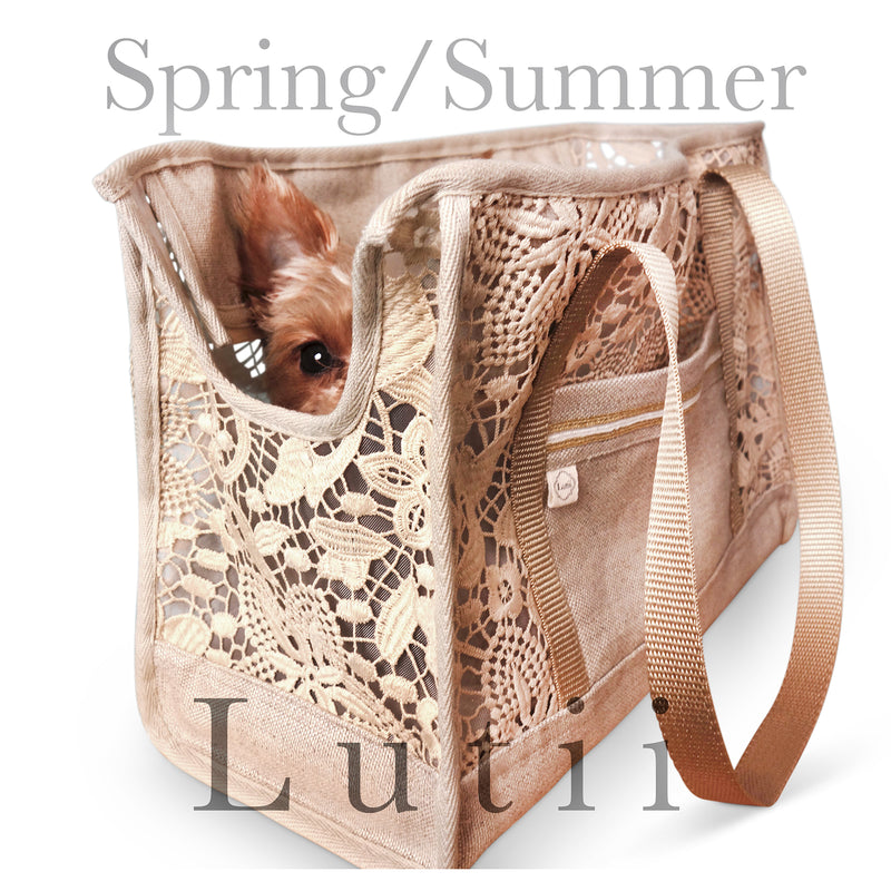 """Summer Wheat"" dog carrier, airy, non-overheating, lightweight lace/linen tote."