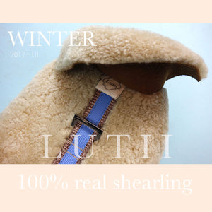 """Natural Colorado""-100% shearling handmade natural winter dog harness"