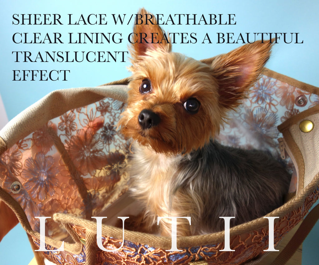"""LUCAS LACE""-Dog carrier, airy, non-overheating, lightweight bronze lace tote. - small dog harness, best pet harness, best non pull harness, designer dog harness, lace dog harness, lace pet carrier, best travel pet carrier, small dog carrier, small dog carrier by Lutii pet design, high end pet carriers, best small dog clothing, pet clothing."