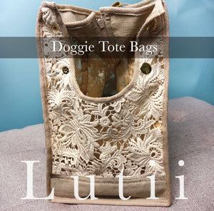 dog carrier tote bag airy fabric non-overheating, cream,sheer small dog tote purse carrier chihuahua yorkie handmade by Lutii.