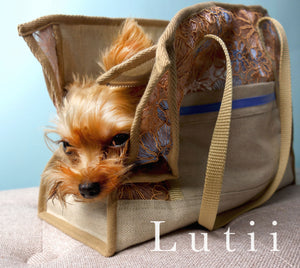 "dog carrier tote bag, non-overheating fabric, ""LUCAS LACE"" dog tote matches a harness chihuahua yorkie maltese, handmade by Lutii."