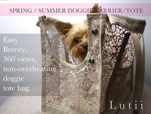 "dog carrier tote bag airy non-overheating fabric, ""PINK FROST"" dog tote carrier purse chihuahua yorkie maltese, handmade by Lutii."