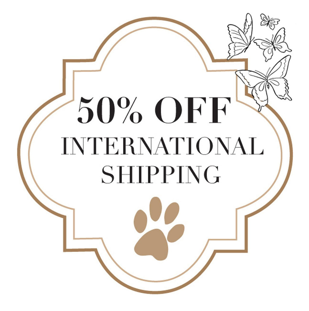50% off INTERNATIONAL SHIPPING Lutii orders from New York City.