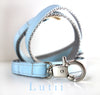 Baby Blue/Silver - Pick your ribbon color! Matching Lutii ribbon leash - small dog harness, best pet harness, best non pull harness, designer dog harness, lace dog harness, lace pet carrier, best travel pet carrier, small dog carrier, small dog carrier by Lutii pet design, high end pet carriers, best small dog clothing, pet clothing.