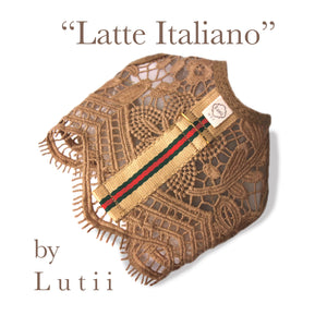 """Latte Italiano""-handmade adjustable lace dog harness - small dog harness, best pet harness, best non pull harness, designer dog harness, lace dog harness, lace pet carrier, best travel pet carrier, small dog carrier, small dog carrier by Lutii pet design, high end pet carriers, best small dog clothing, pet clothing."