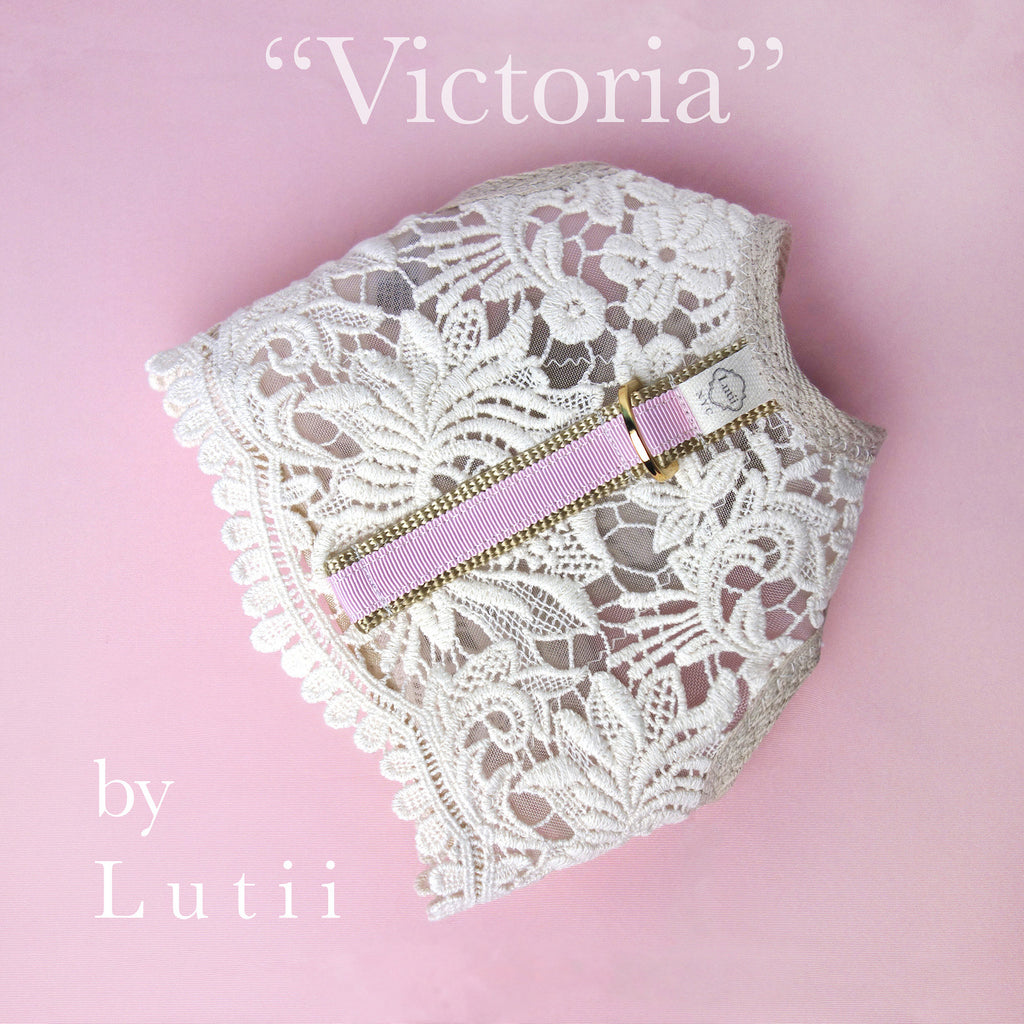 """Cream/pink Victoria""-handmade adjustable lace dog harness - small dog harness, best pet harness, best non pull harness, designer dog harness, lace dog harness, lace pet carrier, best travel pet carrier, small dog carrier, small dog carrier by Lutii pet design, high end pet carriers, best small dog clothing, pet clothing."
