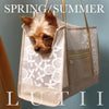 """Cali""-Dog carrier, airy, non-overheating, lightweight white flowered tote. - small dog harness, best pet harness, best non pull harness, designer dog harness, lace dog harness, lace pet carrier, best travel pet carrier, small dog carrier, small dog carrier by Lutii pet design, high end pet carriers, best small dog clothing, pet clothing."