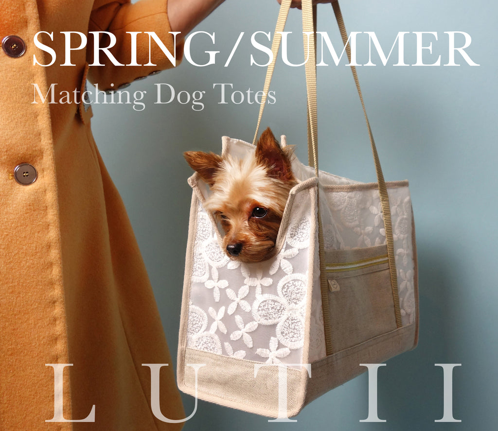 """Cali""-Dog carrier, airy, non-overheating, lightweight white flowered tote."