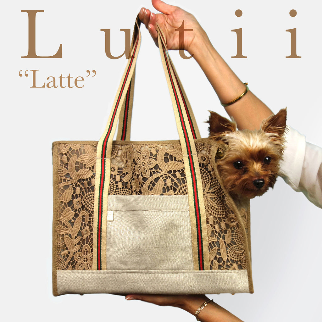 """Latte Italiano""-Dog carrier, airy, non-overheating, lightweight, strong, lace tote. - small dog harness, best pet harness, best non pull harness, designer dog harness, lace dog harness, lace pet carrier, best travel pet carrier, small dog carrier, small dog carrier by Lutii pet design, high end pet carriers, best small dog clothing, pet clothing."
