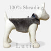 """Slate Grey""-100% shearling handmade winter dog coat - small dog harness, small dog carrier by Lutii pet design"