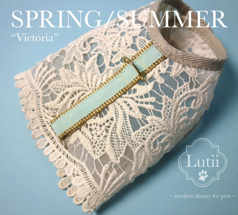 """Cream Victoria""-handmade adjustable lace dog harness - small dog harness, small dog carrier by Lutii pet design"