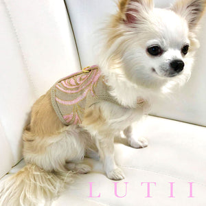 """Pink Sorbet Swirls""-handmade adjustable glitter dog harness - small dog harness, small dog carrier by Lutii pet design"
