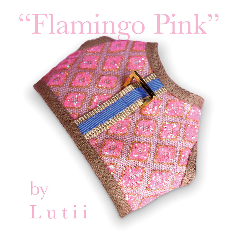 """Flamingo Pink""-handmade adjustable glitter dog harness - small dog harness, best pet harness, best non pull harness, designer dog harness, lace dog harness, lace pet carrier, best travel pet carrier, small dog carrier, small dog carrier by Lutii pet design, high end pet carriers, best small dog clothing, pet clothing."