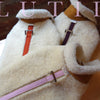 """Natural Colorado""-100% shearling handmade natural winter dog coat - small dog harness, small dog carrier by Lutii pet design"
