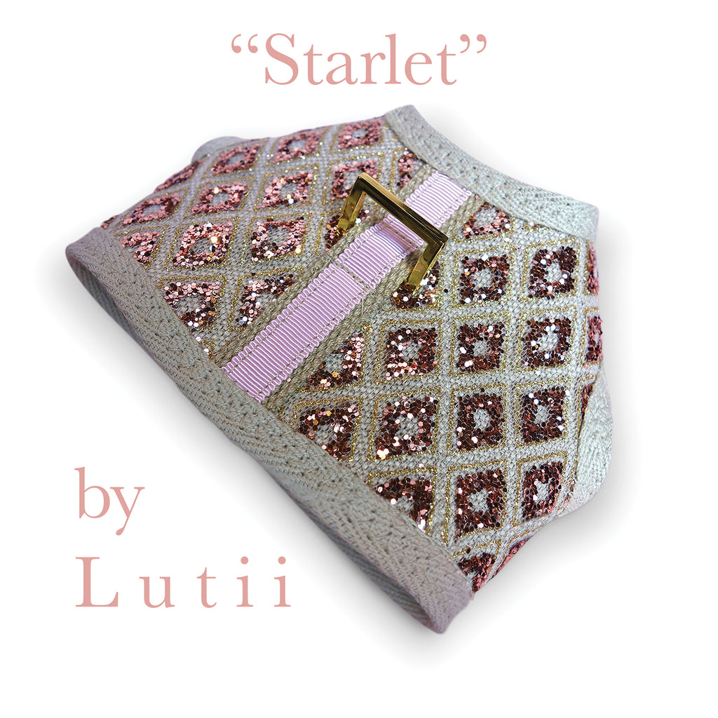 """Starlet""-handmade adjustable lace glitter harness - small dog harness, best pet harness, best non pull harness, designer dog harness, lace dog harness, lace pet carrier, best travel pet carrier, small dog carrier, small dog carrier by Lutii pet design, high end pet carriers, best small dog clothing, pet clothing."