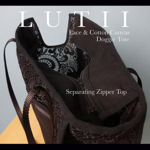 """Black Beauty""-Dog carrier, airy, non-overheating, lightweight lace tote. - small dog harness, best pet harness, best non pull harness, designer dog harness, lace dog harness, lace pet carrier, best travel pet carrier, small dog carrier, small dog carrier by Lutii pet design, high end pet carriers, best small dog clothing, pet clothing."
