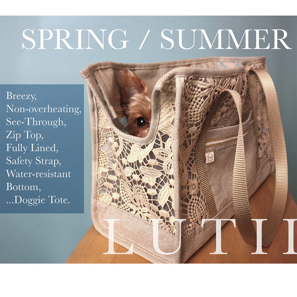 """Summer Wheat"" dog carrier, airy, non-overheating, lightweight lace/linen tote. - small dog harness, best pet harness, best non pull harness, designer dog harness, lace dog harness, lace pet carrier, best travel pet carrier, small dog carrier, small dog carrier by Lutii pet design, high end pet carriers, best small dog clothing, pet clothing."