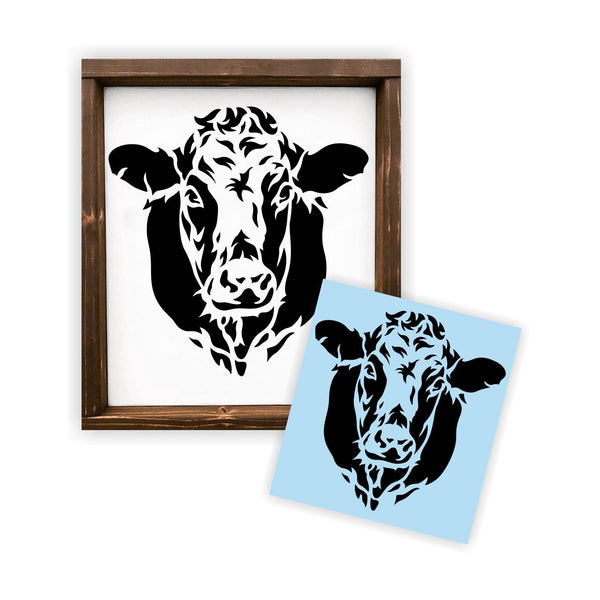 Cow Face Head Stencil