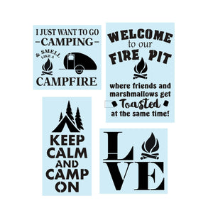 Sign Stencil, Camping Fire Pit Bundle, Painting Stencil, 14 Mil Reusable