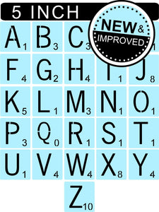 Scrabble Letters Stencil Kit - 5 Inch Tile Stencil - Reusable - Paint Your Own Sign