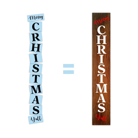 Merry Christmas Y'all Porch Stencil - Reusable - Christmas Stencil - Paint Your Own Sign - Reusable Plastic Stencil