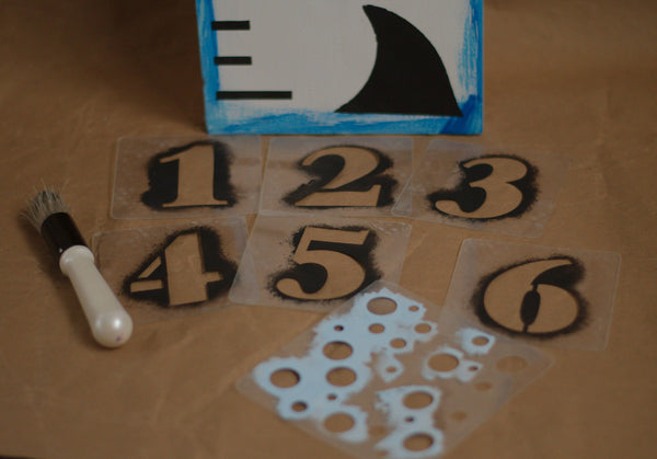 Shark Growth Chart Stencil Kit, Reusable, Ruler Stencil, Paint Your Own Wooden Sign