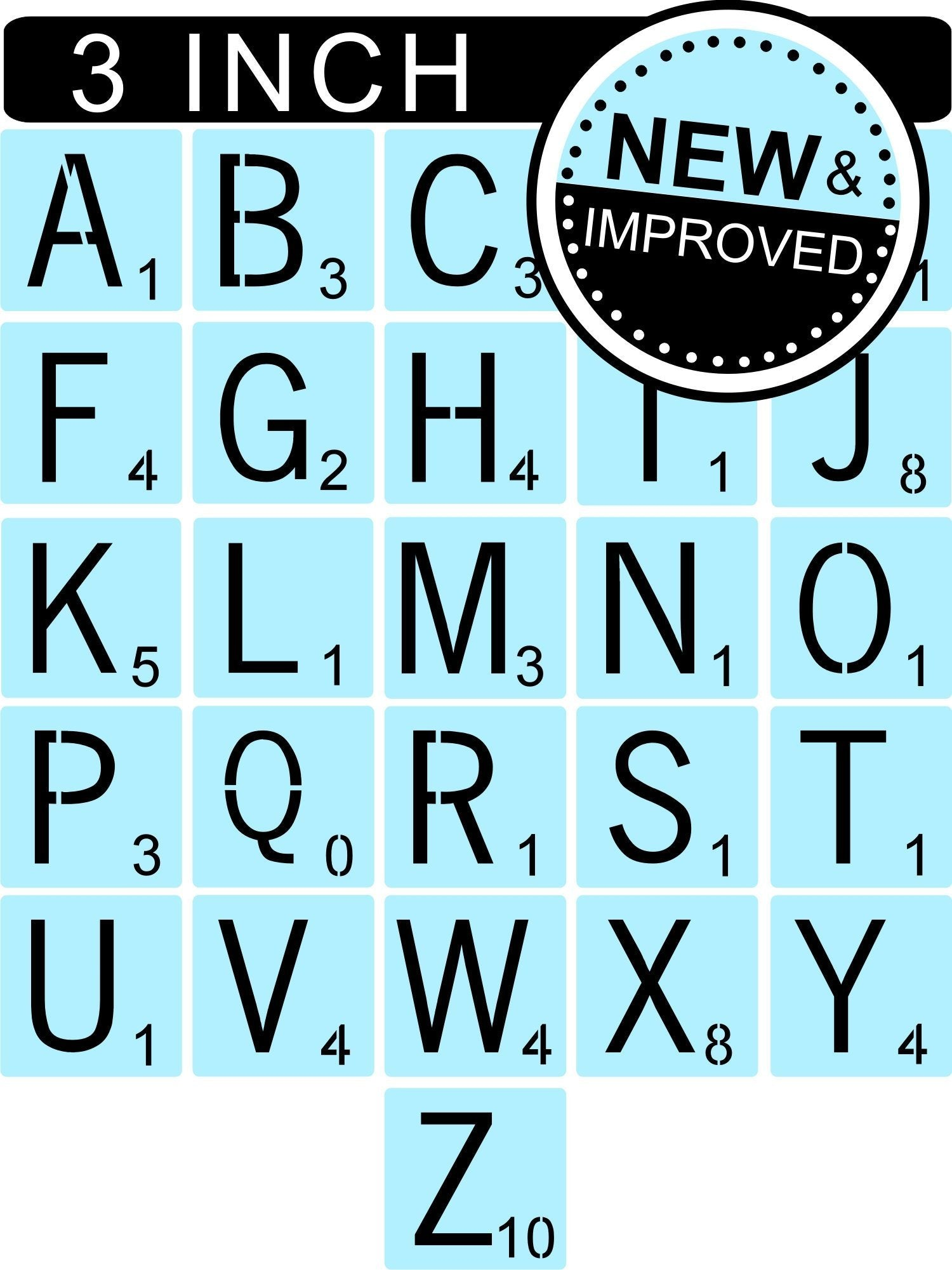 Scrabble Stencils Kit - Reusable - 3 Inch Scrabble Tiles Stencil - Sign Painting