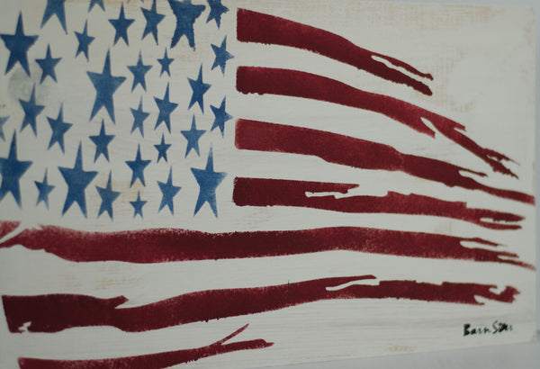 Sign Painting, Primitive American Flag, Stencil for Sign Making, 14 Mil Reusable