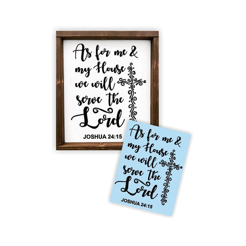 As For Me and My House We Will Serve The Lord Stencil - Paint a Wood Sign - Reusable
